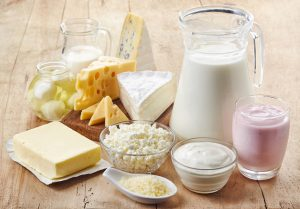 Various fresh dairy products high in calcium